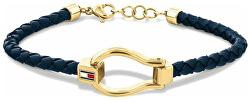 Modisches Armband aus dunkelblauem Leder 2780397