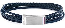 Modrý náramek z kožených pásků TH2790264S