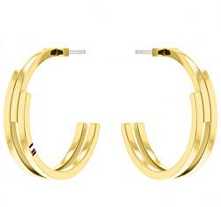 Cercei rotunzi placați cu aur din oțel TH2780388