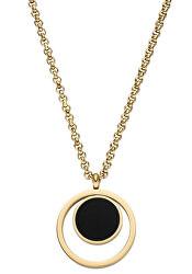 Pozlacený náhrdelník Wendy s černým přívěskem TJ106