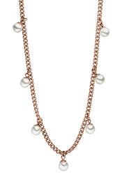 Růžově zlacený náhrdelník Franka s perlami TJ176
