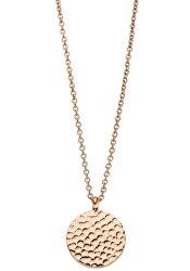Růžově zlacený náhrdelník Vicky s kulatým přívěskem TJ095