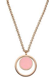 Růžově zlacený náhrdelník Wendy s růžovým přívěskem TJ104