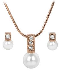 Bronzová sada náhrdelníku a náušnic Pearl Caorle White