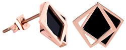 Bronzové náušnice v tvare dvojitého štvorca - čierne