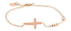 Bronzový minimalistický náramek s křížkem VCBW024RG