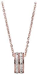Bronzový náhrdelník s kruhovým trblietavým príveskom