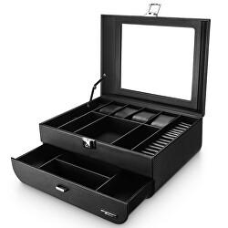 Černá luxusní šperkovnice s průhledným víkem B59