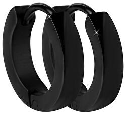 Černé ocelové náušnice kroužky
