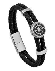 Černý kožený náramek s kompasovou růžicí