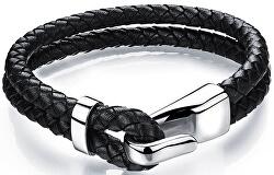 Čierny kožený náramok s oceľovým hákom Leather