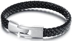 Čierny pánsky náramok z prepletané kože Leather