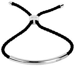 Černý šňůrkový náramek s ocelovou ozdobou