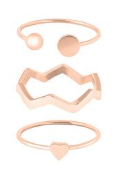 Designová růžově zlacená sada ocelových prstenů
