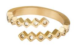 Designový pozlacený prsten se zirkony