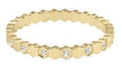 Dizajnový pozlátený prsteň z ocele s čírymi zirkónmi Gold