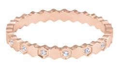 Dizajnový pozlátený prsteň z ocele s čírymi zirkónmi Rose zlaté