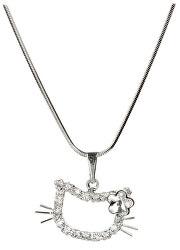 Dievčenské náhrdelník Mačička s kytičkou Crystal