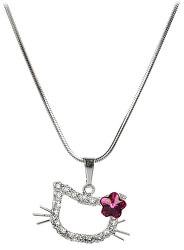 Dievčenský náhrdelník Mačička s kytičkou Fuchsia