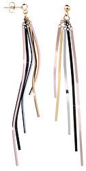Dlouhé čtyřbarevné náušnice s pěti přívěsky