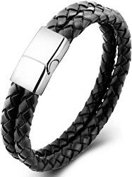 Dvojitý čierny náramok z prepletané kože Leather