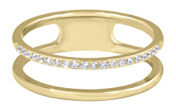 Dvojitý minimalistický prsteň z ocele Gold