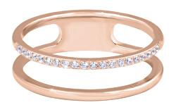 Dvojitý minimalistický prsteň z ocele Rose Gold