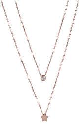 Dvojitý náhrdelník s hviezdičkou z ružovo pozlátenej ocele