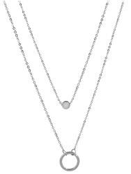 Dvojitý náhrdelník s kroužkovými přívěsky z oceli
