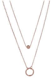 Dvojitý náhrdelník s krúžkovými prívesky z ružovo pozlátenej ocele