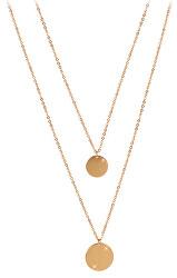 Dvojitý náhrdelník s kruhovými príveskami z pozlátenej ocele