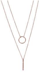 Dvojitý náhrdelník se stylovými přívěsky z růžově pozlacené oceli