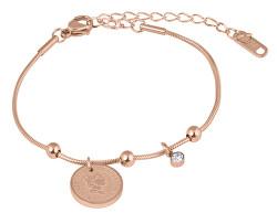 Elegantní ocelový náramek Coin Rose Gold