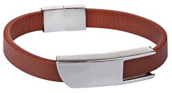 Hnedý kožený náramok s oceľovou sponou Leather