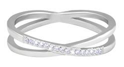 Jemný dvojitý prsteň z ocele s čírymi zirkónmi Silver
