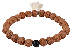 Korálkový náramek z rudrakshi a lávového kamene se střapcem
