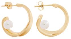 Kruhové pozlacené náušnice s perličkou