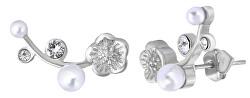 Podélné ocelové náušnice s krystaly a perlami