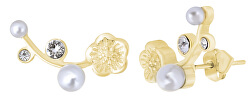 Podélné pozlacené náušnice s krystaly a perlami
