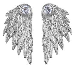 Luxusní ocelové náušnice s andělským křídlem 2v1