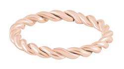Moderní kroucený růžově zlacený prsten