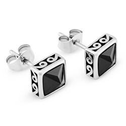 Cercei la modă din oțel cu cristale negre KS-144
