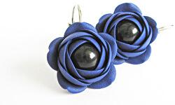 Modré visiace náušnice s čiernou perličkou Estrela kytičky