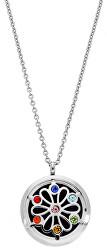 Multifunkčná oceľový náhrdelník s kryštálmi a vymeniteľným stredom Aróma DIFCOL04