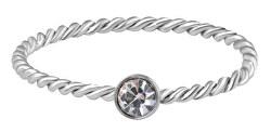 Něžný kroucený prsten z oceli s čirým zirkonem Silver