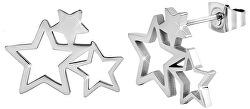 Ocelové náušnice se třemi hvězdičkami