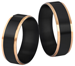 Ocelový černý prsten se zlatým okrajem