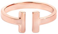 Otevřený růžově pozlacený prsten z oceli