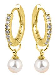 Pozlacené kruhové náušnice s krystaly a perlou 2v1 VREPE003GI