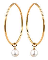 Pozlacené kruhové náušnice s perlou 2v1 VJMS002ER